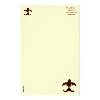 Rojo/oro de la flor de lis  papeleria de diseño