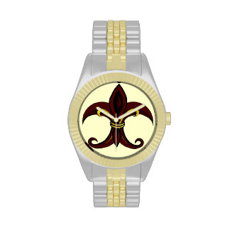 Rojo/oro de la flor de lis relojes de mano