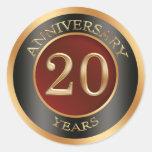 Rojo, oro, vigésimo pegatina del aniversario de bo