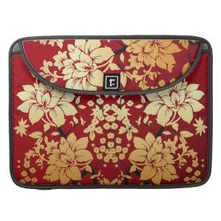 Rojo oro y estilo oriental floral negro fundas macbook pro