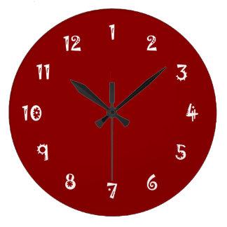 Rojo oscuro a todo color absurdo reloj de pared
