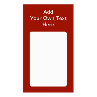 Rojo oscuro con el área y el texto blancos tarjetas de visita