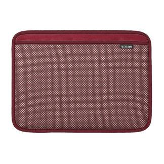 Rojo oscuro con los puntos blancos simples funda  MacBook