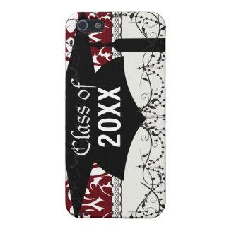 rojo oscuro en la graduación pern del damasco fron iPhone 5 carcasa