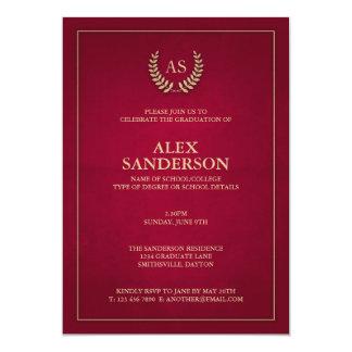 """Rojo oscuro + Monograma del oro/graduación de la Invitación 5"""" X 7"""""""