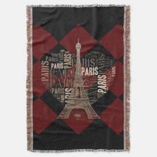Rojo oscuro negro de París el | del amor Manta