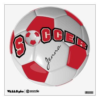 Rojo oscuro personalice el balón de fútbol vinilo decorativo