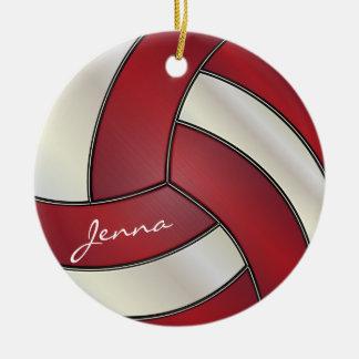 Rojo oscuro y blanco personalice el voleibol adorno navideño redondo de cerámica
