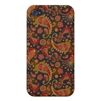 Rojo oscuro y oro Paisley Pern iPhone 4 Protector