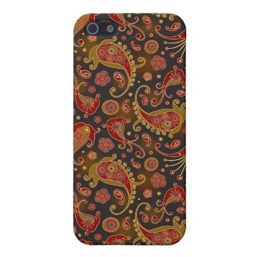 Rojo oscuro y oro Paisley Pern iPhone 5 Funda