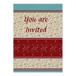 Rojo oscuro y trullo confinó diseño floral invitación 12,7 x 17,8 cm