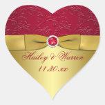 Rojo, pegatina floral del favor del boda del oro