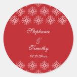 Rojo + pegatinas blancos del boda del invierno de