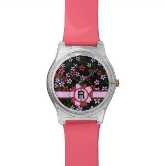 Rojo persa con monograma y caramelo Sakura rosado Reloj