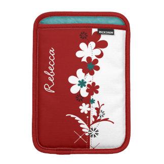 Rojo personalizada y blanco con floral partido del funda iPad mini