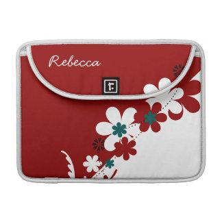 Rojo personalizada y blanco con floral partido del funda para macbooks