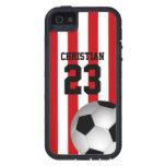 Rojo personalizada y el blanco raya el balón de fú iPhone 5 protectores
