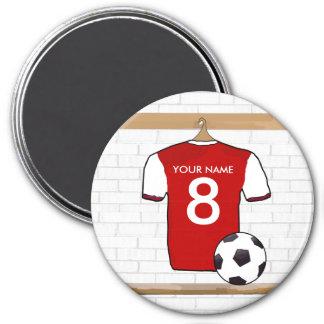 Rojo personalizado con el jersey de fútbol blanco imán redondo 7 cm