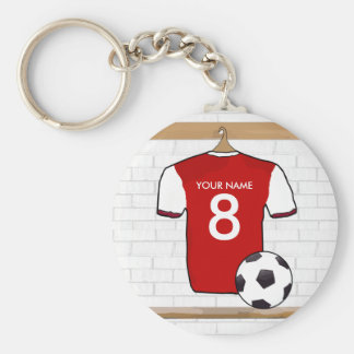 Rojo personalizado con el jersey de fútbol blanco llavero redondo tipo pin