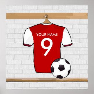 Rojo personalizado con el jersey de fútbol blanco poster