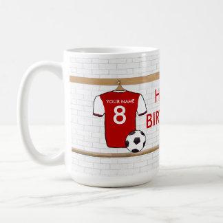 Rojo personalizado con el jersey de fútbol blanco taza clásica