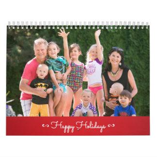 Rojo personalizado del calendario buenas fiestas