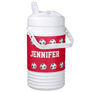 Rojo personalizado del fútbol del vaso enfriador de bebida igloo