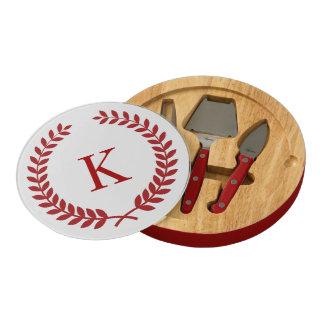 Rojo personalizado del monograma del escudo de la
