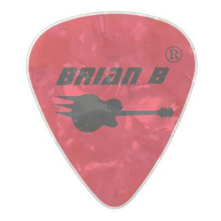 rojo personalizado nombre del guitarrista plectro de celuloide nacar