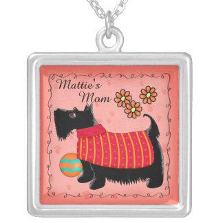 Rojo personalizado nombre negro del perro de colgante cuadrado
