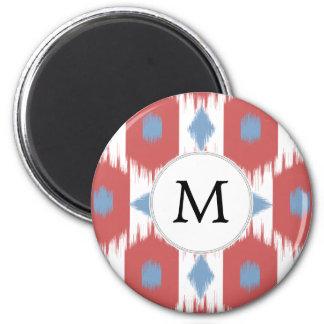 rojo personalizado y azul de Ikat del monograma Imán Redondo 5 Cm