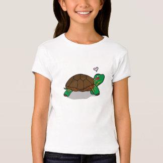 Rojo pintado lindo de la tortuga - camisetas de camisas