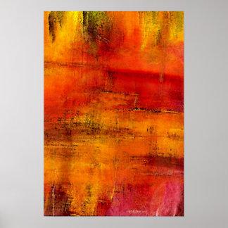 Rojo - pintura abstracta póster