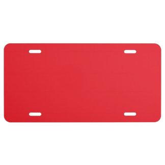"""""""Rojo"""" Placa De Matrícula"""