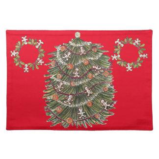 Rojo Placemat del árbol de navidad del algodón Mantel