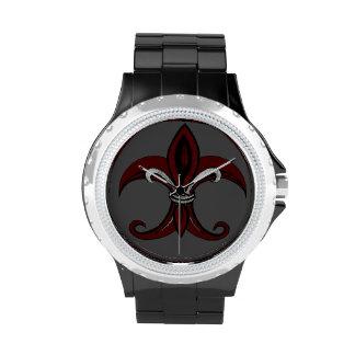 Rojo/plata de la flor de lis reloj de mano