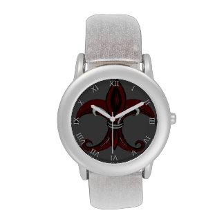 Rojo/plata de la flor de lis relojes de pulsera