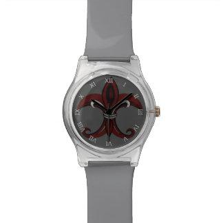 Rojo/plata de la flor de lis relojes