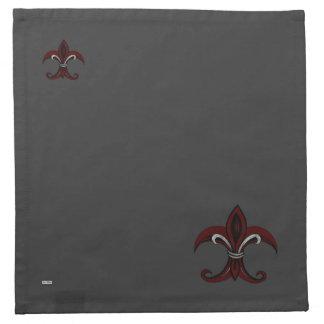 Rojo/plata de la flor de lis servilletas