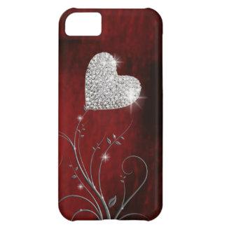 rojo precioso femenino del corazón funda para iPhone 5C