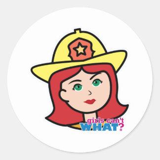 Rojo principal del bombero pegatina redonda