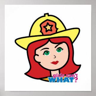 Rojo principal del bombero posters