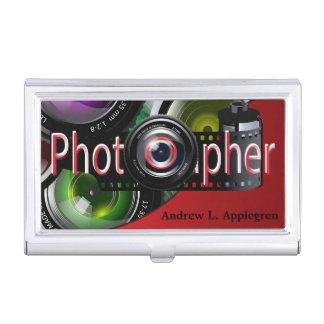 Rojo profesional del fotógrafo el | caja de tarjetas de negocios