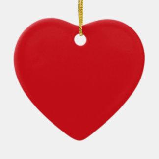 Rojo puro adorno de cerámica en forma de corazón