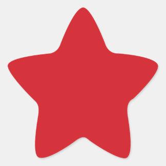 Rojo puro pegatina en forma de estrella