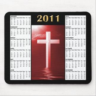 Rojo que refleja el calendario Mousepad de la cruz Alfombrilla De Ratón