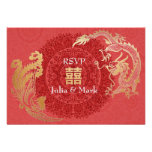 Rojo que se casa chino moderno de Dragón-Phoenix R Invitación Personalizada
