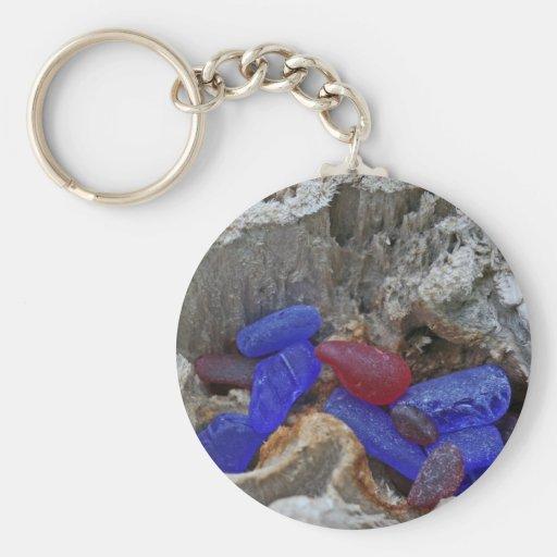Rojo raro y azul de cobalto Seaglass Llaveros Personalizados