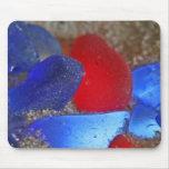 Rojo raro y azul de cobalto Seaglass Tapete De Raton