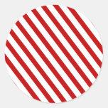 Rojo rayado pegatina redonda